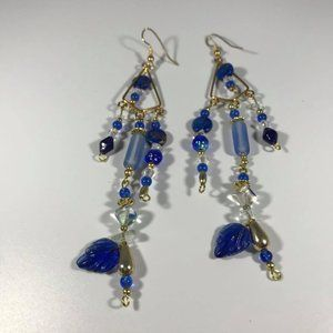 VERY long Earrings Blue Stones, Beads, Crystals
